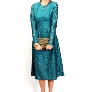 H&M Teal Long Sleeve Lace Tea Length/Midi Dress M